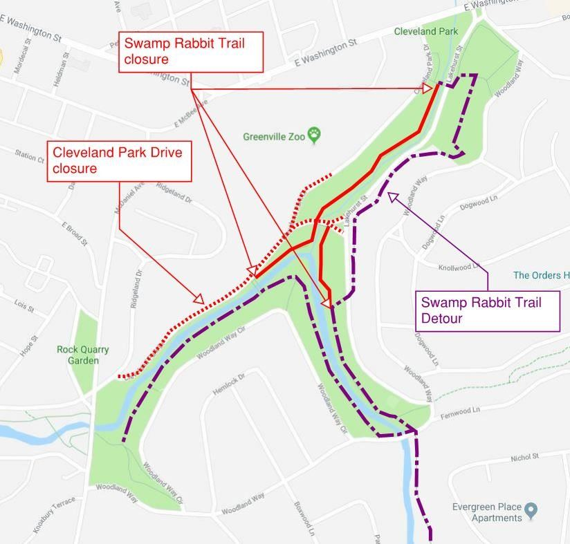Map showing Swamp Rabbit Trail detour, January 2019