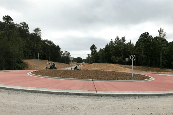 A roundabout near completion along Parallel Parkway.