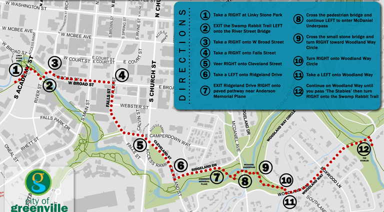 Image of Swamp Rabbit Trail - Cleveland Park Bypass Map