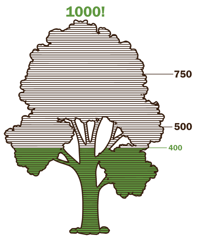 Tree with green fill to create a thermometer gauging progress toward planing 1000 trees