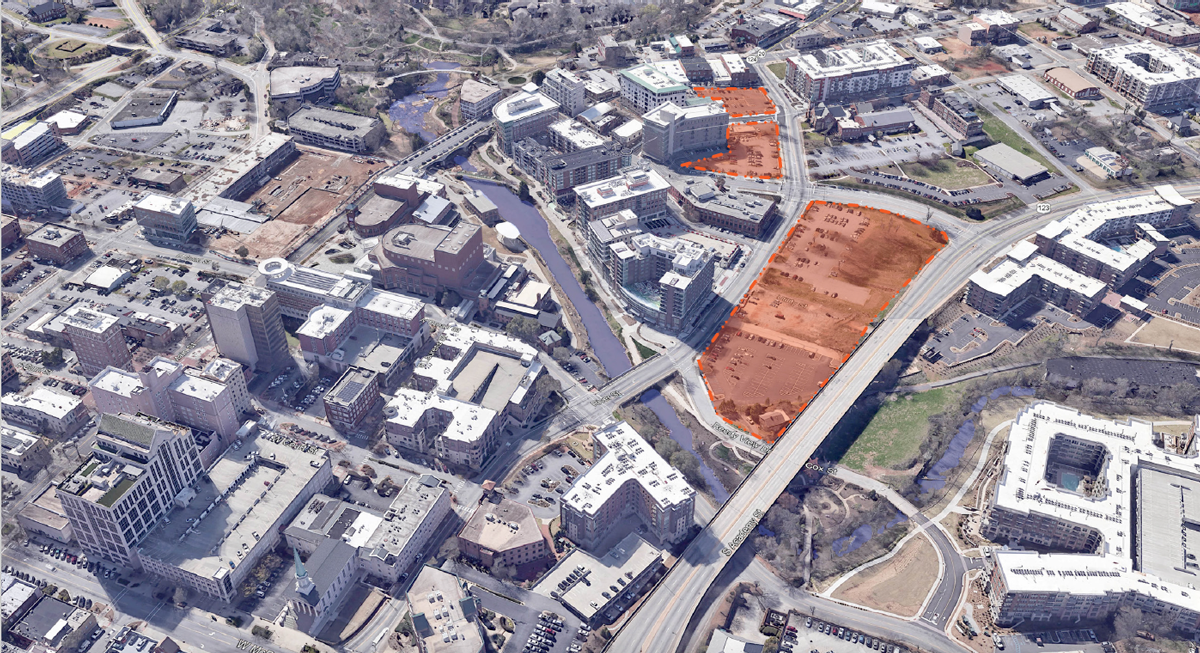 map showing downtown Greenville with areas for development highlighted in orange